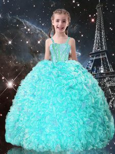 Discount Turquoise Ball Gowns Straps Sleeveless Organza Floor Length Lace Up Beading and Ruffles Kids Pageant Dress