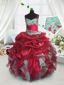 Red Ball Gowns Organza Spaghetti Straps Sleeveless Beading and Ruffles Floor Length Lace Up Kids Formal Wear