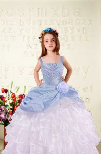 Light Blue Organza Lace Up Straps Sleeveless Floor Length Pageant Dress for Teens Beading and Ruffled Layers and Hand Made Flower