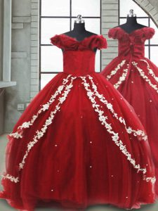 Wine Red Ball Gowns Appliques Winning Pageant Gowns Lace Up Tulle Sleeveless