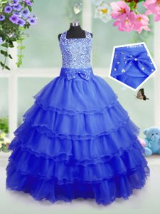 Sweet Royal Blue Sleeveless Beading and Ruffled Layers Floor Length Child Pageant Dress