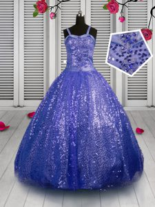 Beading and Sequins Girls Pageant Dresses Blue Lace Up Sleeveless Floor Length