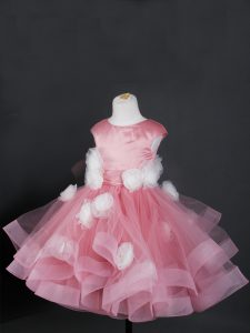 Custom Made Cap Sleeves Tulle Knee Length Zipper Toddler Flower Girl Dress in Pink with Ruffles and Hand Made Flower