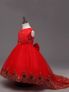 High Quality Lace and Bowknot High School Pageant Dress Red Zipper Sleeveless High Low