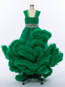 A-line Pageant Dress for Teens Dark Green Straps Tulle Sleeveless High Low Lace Up