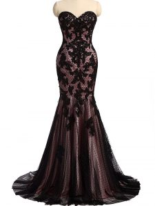 Lovely Sweetheart Sleeveless Glitz Pageant Dress Brush Train Lace and Appliques Black Tulle and Lace