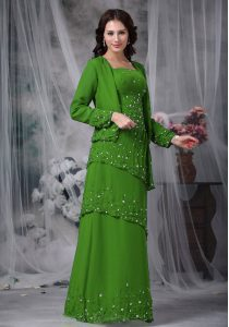 Floor Length Green Pageant Gowns Straps Sleeveless Zipper