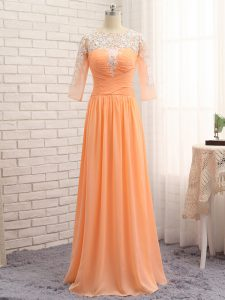 Edgy Orange Empire Lace and Appliques and Ruching Pageant Dress for Teens Zipper Chiffon Long Sleeves Floor Length