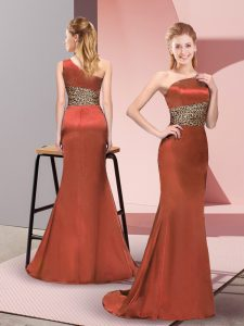 Classical Sleeveless Elastic Woven Satin Floor Length Side Zipper Pageant Dress in Rust Red with Pattern