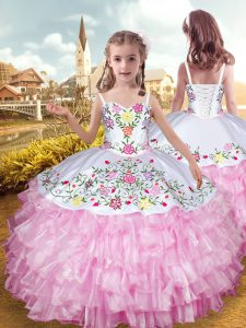 Adorable Rose Pink Straps Neckline Embroidery and Ruffled Layers Custom Made Pageant Dress Sleeveless Lace Up