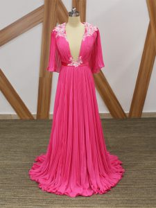 Half Sleeves Chiffon Sweep Train Backless Winning Pageant Gowns in Hot Pink with Lace and Appliques and Pleated