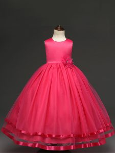 Ball Gowns Flower Girl Dress Hot Pink Scoop Tulle Sleeveless Floor Length Zipper