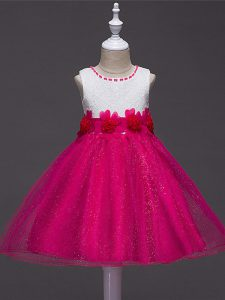 Trendy Hot Pink Tulle Zipper Pageant Dress Womens Sleeveless Knee Length Lace and Hand Made Flower