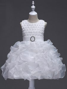 Elegant White Organza Lace Up Pageant Dresses Sleeveless Knee Length Ruffles and Belt