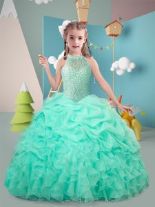 High End Hot Pink and Apple Green Ball Gowns Ruffles Winning Pageant Gowns Lace Up Organza Sleeveless Floor Length