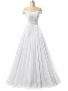 White Lace Up Winning Pageant Gowns Ruching Sleeveless Floor Length