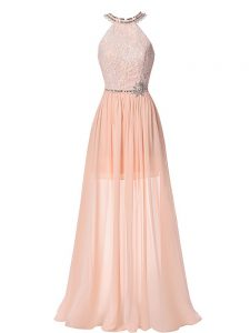 Sleeveless Chiffon Floor Length Backless Pageant Dresses in Peach with Beading