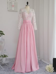 Baby Pink Empire V-neck Long Sleeves Chiffon Floor Length Zipper Beading Pageant Dress for Womens