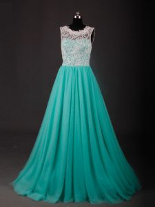 Turquoise Winning Pageant Gowns Scoop Sleeveless Sweep Train Zipper