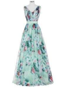 Traditional Multi-color Sleeveless Floor Length Ruching and Belt Zipper Pageant Dress Womens