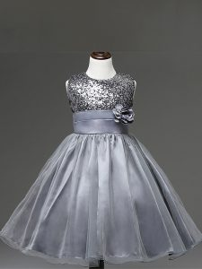 Tulle Sleeveless Knee Length Pageant Gowns and Sequins and Hand Made Flower