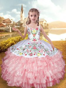 Floor Length Lace Up Pageant Dress Toddler Baby Pink for Party with Embroidery and Ruffled Layers