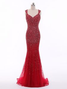Red Winning Pageant Gowns Prom and Military Ball and Beach with Beading Straps Sleeveless Zipper