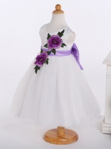 Trendy White Flower Girl Dresses Wedding Party with Bowknot and Hand Made Flower Scoop Sleeveless Zipper