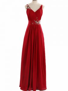Sleeveless Floor Length Beading and Ruching Zipper Pageant Dresses with Red