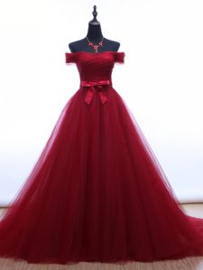 New Style Tulle Off The Shoulder Sleeveless Brush Train Lace Up Ruching and Belt Custom Made Pageant Dress in Burgundy