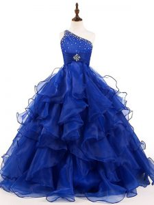 Royal Blue Organza Zipper One Shoulder Sleeveless Floor Length Pageant Dresses Beading and Ruffles