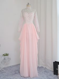 Decent Baby Pink Sleeveless Beading Floor Length Pageant Dress for Womens