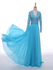 Cute Baby Blue Empire Lace Evening Gowns Zipper Chiffon Long Sleeves Floor Length