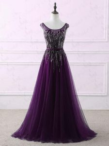 Colorful Eggplant Purple Tulle Zipper Scoop Sleeveless Glitz Pageant Dress Sweep Train Appliques and Embroidery