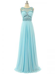 Trendy Sleeveless Chiffon Floor Length Zipper Evening Gowns in Aqua Blue with Beading
