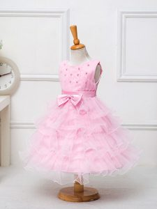 Baby Pink Ball Gowns Scoop Sleeveless Organza Tea Length Zipper Ruffled Layers and Bowknot Pageant Dress Toddler
