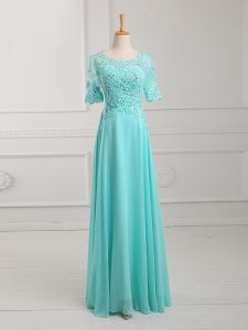 Modern Floor Length Aqua Blue Pageant Dress Scoop Half Sleeves Zipper