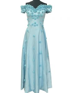 Dramatic Light Blue Zipper Off The Shoulder Hand Made Flower Pageant Dress Womens Taffeta Sleeveless