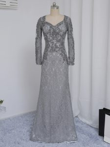Suitable Grey Sweetheart Neckline Beading and Lace Evening Gowns Long Sleeves Zipper