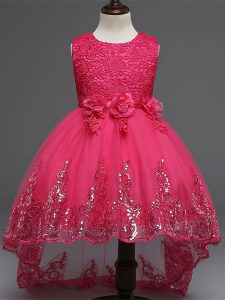 Customized Hot Pink Tulle Zipper Scoop Sleeveless High Low Winning Pageant Gowns Lace and Appliques and Bowknot and Hand Made Flower