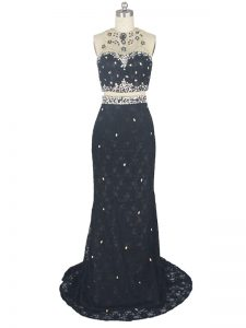 Fashionable Black Column/Sheath Lace High-neck Sleeveless Beading and Lace Zipper High School Pageant Dress Brush Train