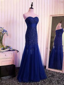Custom Fit Royal Blue Pageant Dress for Womens Prom and Military Ball with Beading and Lace and Appliques and Pleated Sweetheart Sleeveless Lace Up