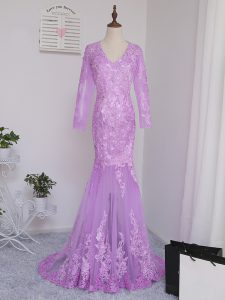 Unique V-neck Long Sleeves Pageant Dress Wholesale Brush Train Lace and Appliques Lilac Tulle