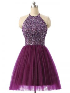 Stunning Dark Purple Sleeveless Tulle Backless Pageant Dress Toddler for Prom and Party and Sweet 16 and Beach