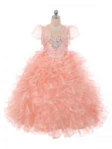 Floor Length Peach Flower Girl Dresses Straps Sleeveless Lace Up