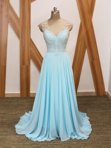 Aqua Blue V-neck Side Zipper Beading and Ruching Pageant Gowns Brush Train Short Sleeves