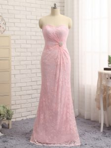 Baby Pink Zipper Pageant Dress for Teens Beading and Lace and Appliques Sleeveless Floor Length
