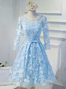 Exceptional Baby Blue Lace Up Evening Gowns Appliques and Belt Long Sleeves Knee Length