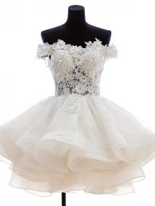 White A-line Beading and Lace and Embroidery and Ruffles Pageant Dress for Girls Zipper Tulle Sleeveless Knee Length