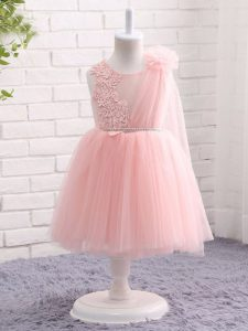 Baby Pink Scoop Zipper Appliques and Hand Made Flower Pageant Dresses Sleeveless